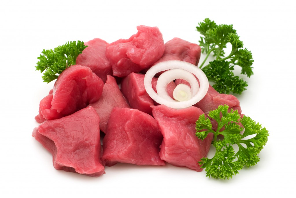 cut beef on white background